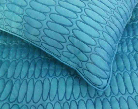 cotton surf blue queen size quilted bedspread with 2 by Tatvakala