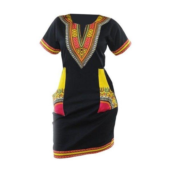 Rotita Dashiki Print Back Slit Mini Dress ($22) ❤ liked on Polyvore featuring dresses, black, short sleeve dress, short straight dresses, long-sleeve mini dress, print mini dress and short dresses