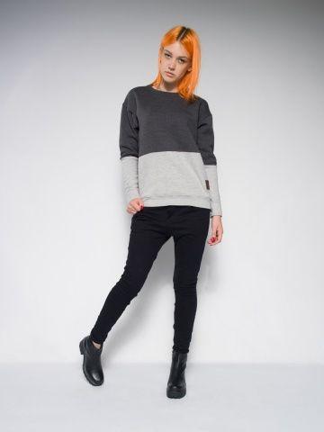 Female melange sweatshirt by Keyce. Panel sweatshirt.  Made from cotton. Streetstyle from Poland.