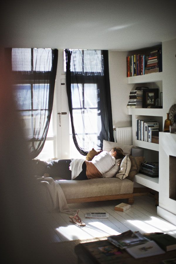 sheer black drapesSpaces, Sheer Curtains, Windows Seats, Shelves, Interiors Design, Reading Corner, Reading Nooks, Places, White Wall