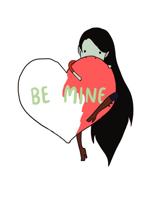 lilydrawsart: I've been pretty inspired by all the cute V-Day cards floating around the web-o-sphere lately that I couldn't help contribute a little more. Marceline loves Valentine's Day simply because there's so much red around her to eat. Yum yum. Forget your candy hearts, she just wants the red. ;)