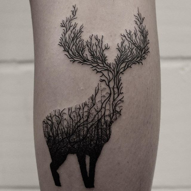 By hand and machine. Stag for Vicky, thanks for getting him. #tattoo