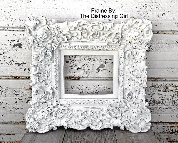 Large Ornate 8 X 10 Picture Frame White Painted And Distressed Antique Extra Wide Chunky 6 Thick Profile 8 By 10 Frame V Frame White Picture Frames 10 Frame