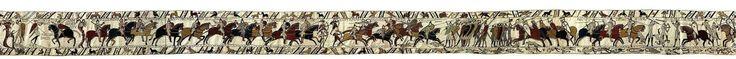 Tapiz de Bayeux. Fines de 1100 d.C. Musée de la Tapisserie de Bayeux. Bayeux, Normandía. Francia.  La homogeneidad del diseño permite pensar que fue supervisado por un clérigo, con el conocimiento necesario de la lengua latina a pesar de los vocablos anglosajones, y ejecutado en el sur de Inglaterra, posiblemente en Canterbury o Winchester, Kent, donde se sabe que existían talleres de bordado. De carácter a la vez religioso y profano la obra detalla la victoria militar en la batalla de…
