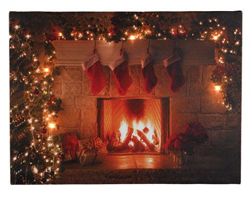 LED Canvas Fireplace    #canvas #Christmas #pretty #LED #home #shopping