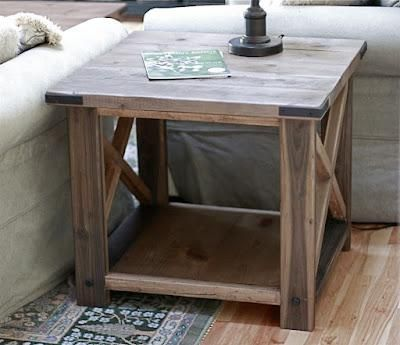 Glad to find that the tables I was eyeing on craigslist are made with plans from Ana White. I love my slate, but I think eventually they will be replaced with this collection! Rustic X End Table