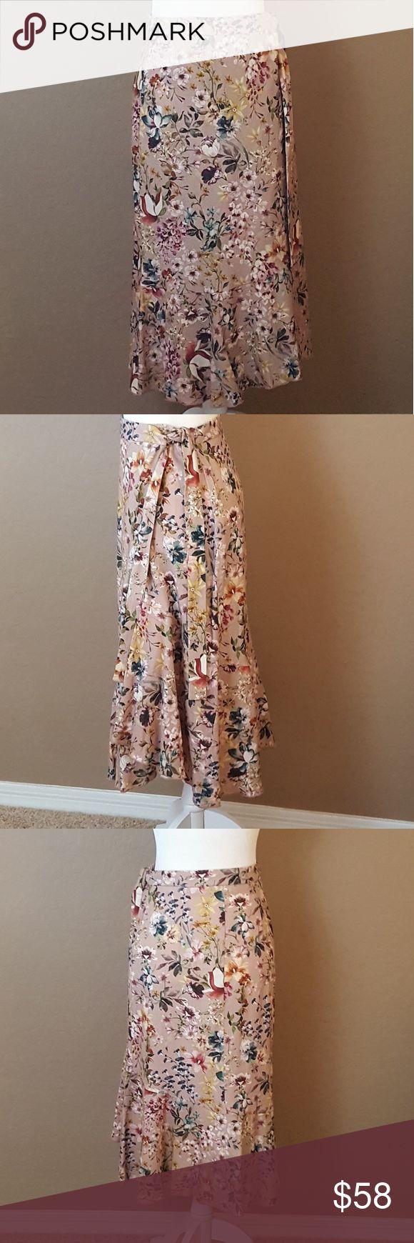 🆕 ZARA - Floral Wrap Skirt Linen and Viscose Blend. Two Button Hidden Closures at Waist. Side Tie. Trumpet Bottom. US Size: M Zara Skirts Midi