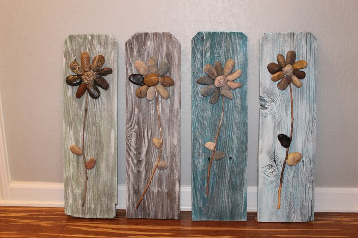 Reclaimed Wood Sign3D Rock Flowers on Reclaimed by CSquaredCustoms