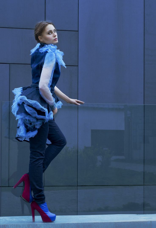 Fashion, blue jeans 2013.  My design fashion, photography in Krakow.  Model: Alice J.  Designer and photographer: Monika Sz Handmade: Maria M, Monika Sz