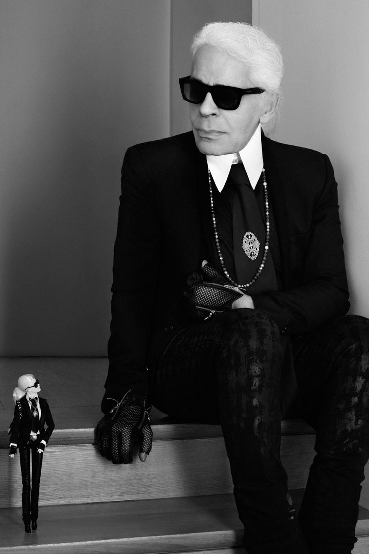 Karl Lagerfeld & Barbie Lagerfeld Doll Pose Together.