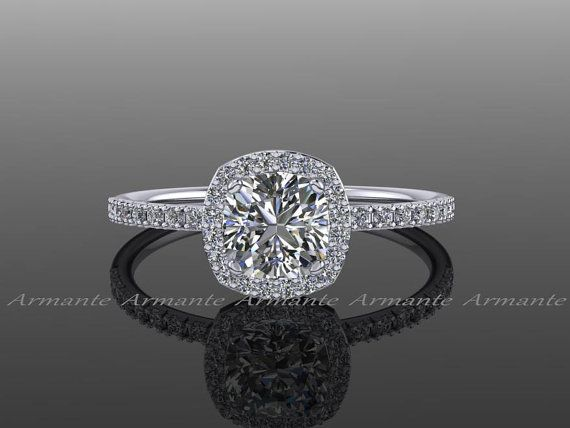Halo Diamond Moissanite Engagement Ring Cushion Cut 14K door Armante
