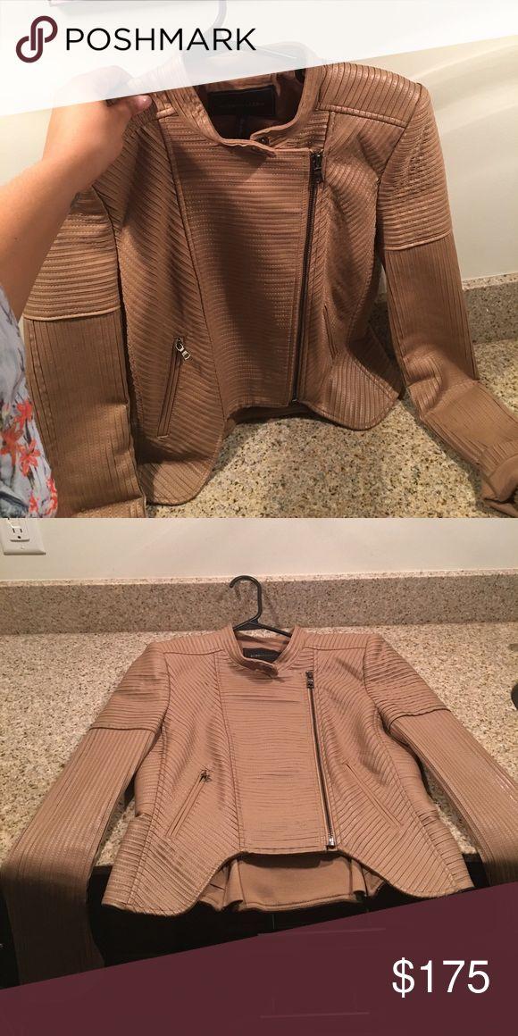 BCBG leather jacket Camel colored ! Soft! Worn once !! BCBGMaxAzria Jackets & Coats