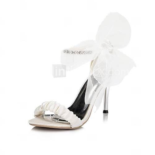 sandali scarpe tacco tacco a stiletto in raso delle donne con scarpe da sposa fiore di raso più colori disponibili - EUR € 37.99