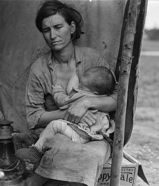 I have seen this picture my whole life. . .but, this is the first day I have ever seen the entire picture. . . did you know she was nursing a baby? It makes this picture of the Depression Era so much more real.