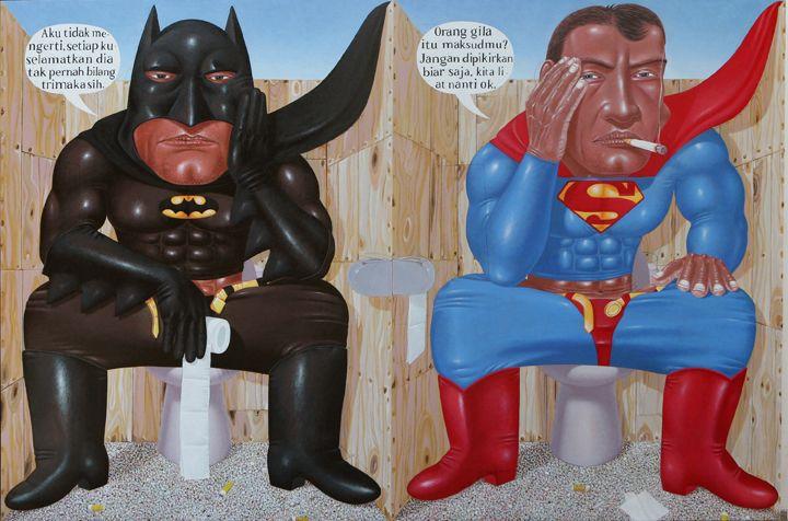 "I Nyoman Masriadi, b. 1973, Indonesian painter,   ""Sorry Hero, I Forgot, "" acrylic on canvas, 200x300cm, 2008"