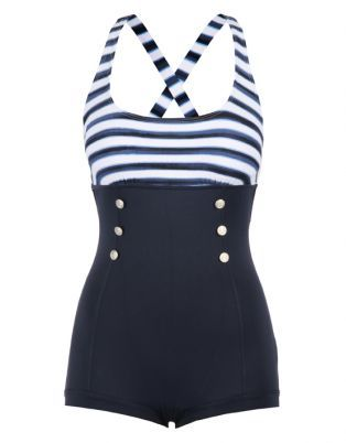 Seafolly Seaview Stripe Boyleg One Piece Navy Blue. Ditch the buttons and it is retro cute