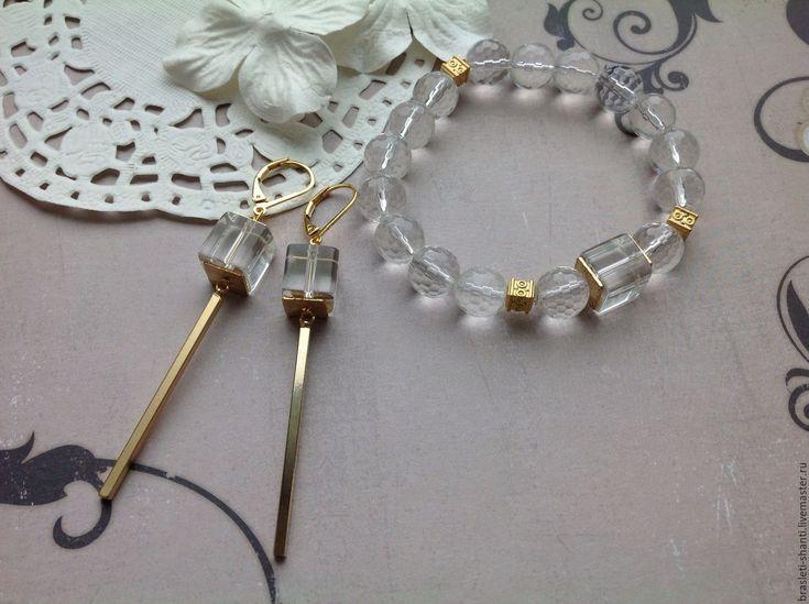 Купить Браслет и серьги из горного хрусталя - золотой, браслет и хрусталя, серьги из хрусталя