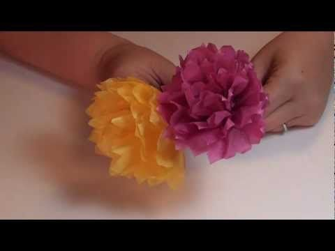 Beautiful tissue paper carnation VIDEO tutorial!  Step-by-step instructions also included!  http://littlemisscraft.com/Carnation_Tissue_Paper_Flower-60_15