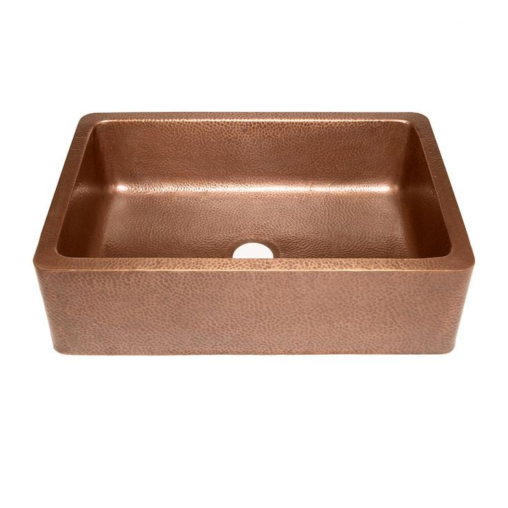 SINKOLOGY Adams Farmhouse Apron Front Handmade Pure Solid Copper 33 in. Single Bowl Kitchen Sink in Antique Copper-K1A-1004ND - The Home Depot