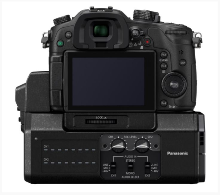 Panasonic+DMW-YAGH+Pro+Audio+Video+Interface+attached+to+the+bottom+of+a+Lumix+GH4.