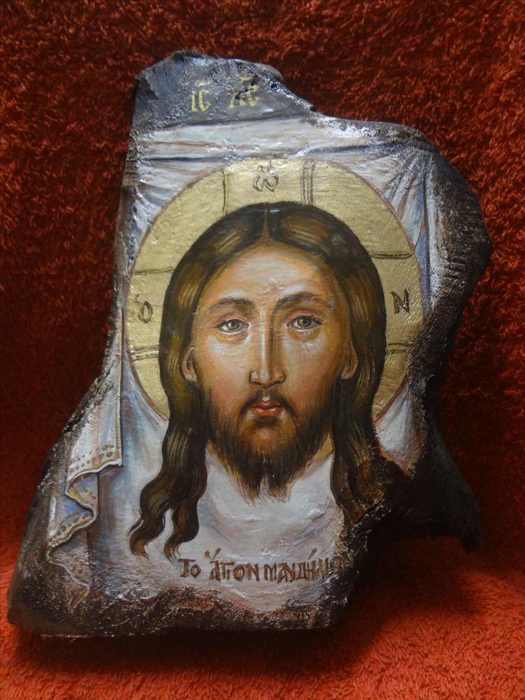 Ushakov-Agion Mandylion orthodox icon.