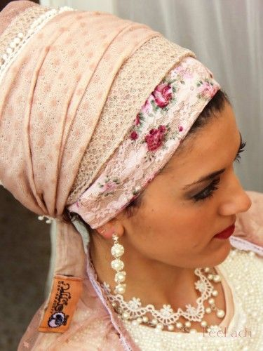 Elegant Sunset Floral Pink Lace Sinar Tichel-Headcovering was designed by Michal (shablula brand name) . This Head covering is an invigorati...