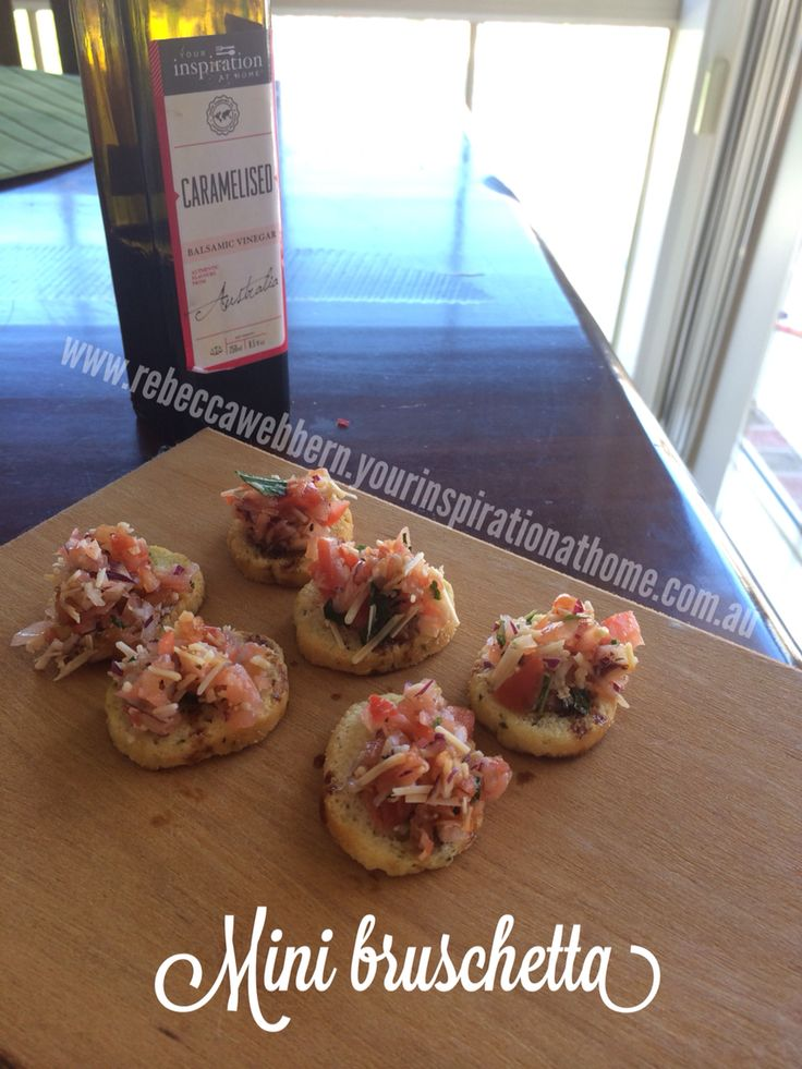 Mini bruschetta made with YIAH province oil and YIAH caramelized balsamic vinegar