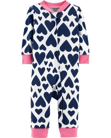 a012baa01 1-Piece Heart Snug Fit Cotton Footless PJs