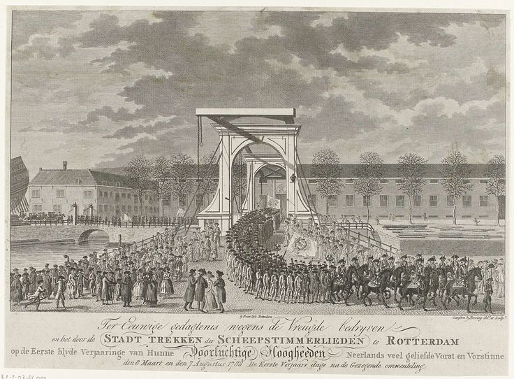 Franciscus Sansom | Optocht van de scheepstimmerlieden te Rotterdam, 1788, Franciscus Sansom, Hendrik Roosing, 1788 | Plechtige optocht van de scheepstimmerlieden over de nieuwe Oostbrug te Rotterdam, ter gelegenheid van de veertigste verjaardag van prins Willem V op 8 maart 1788.ter gelegenheid van de veertigste verjaardag van prins Willem V op 8 maart 1788 en de verjaardag van prinses Wilhelmina op 7 augustus.
