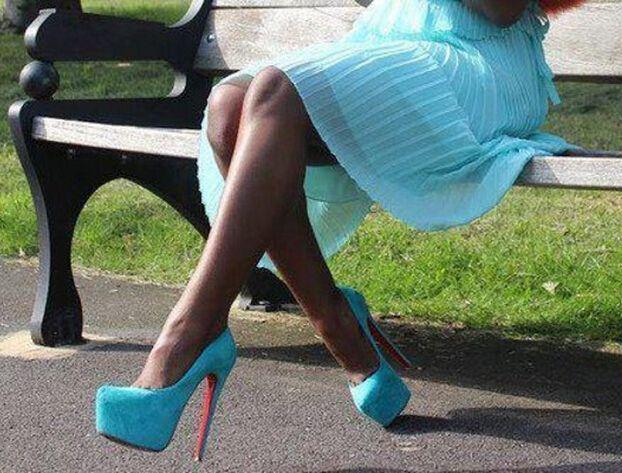 Barato Marca de luxo Sexy de salto alto sapatos de fundo vermelho para mulheres de 160 mm de camurça bombas zapatos mujer tacon turquesa clássico, Compro Qualidade Bombas das mulheres diretamente de fornecedores da China:   Nós temos nossa própria fábrica.  Todos os sapatos feitos por handmade