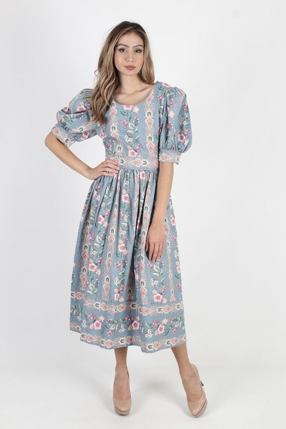 Best fit Small 1920/'s Style Drop Waist Rayon Day Dress Taurus II 1980/'s Vintage Floral Paisley Dress with Balloon Sleeves