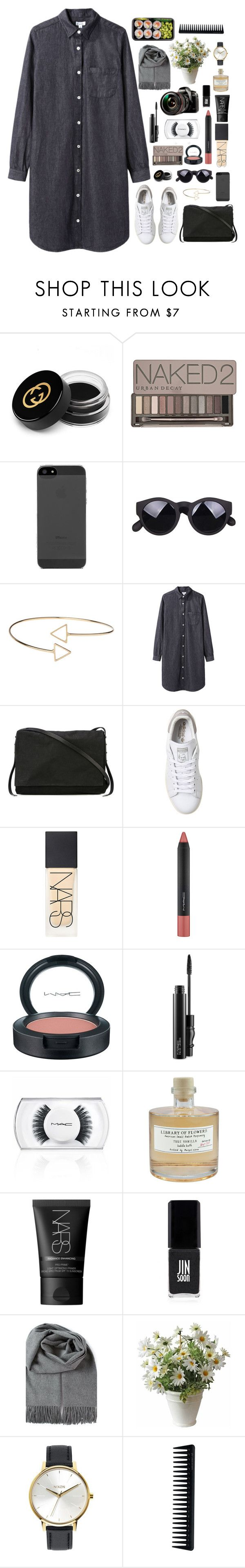 """""""#50"""" by anastasiasara-1 on Polyvore featuring Gucci, Urban Decay, Topshop, Steven Alan, Rick Owens, adidas, NARS Cosmetics, MAC Cosmetics, Panasonic and Library of Flowers"""