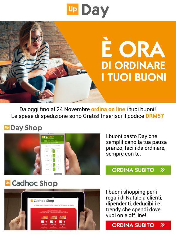 Fino al 24/11 promozione spese di spedizione gratuite per acquisti di #buoni #pasto su www.dayshop.it e buoni #regalo su www.cadhocshop.it. Inserire codice DRM57