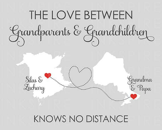 This printable is the perfect gift for those grandparents that are miles apart but still close at heart. CHANGE... ► ALL TEXT! ► COLORS! ► CITIES AND PROVINCES/STATES (CANADA & US AVAILABLE)  /// AVAILABLE SIZES /// `````````````````````````` 8x10, 11x14, 16x20  Need a different size? Please message me!  /// INC...