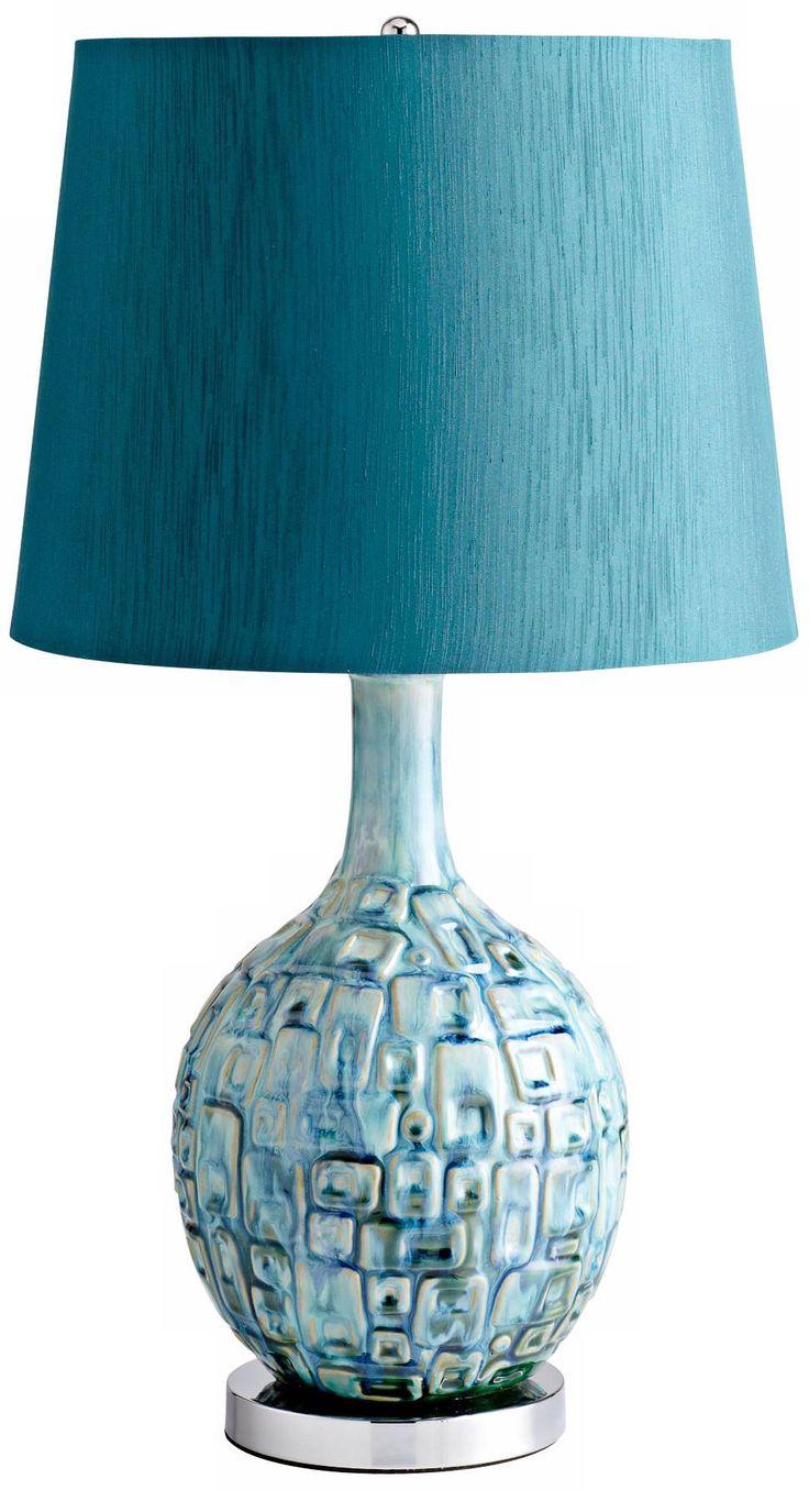 Jordan Ceramic Teal Table Lamp - #X6331 | Lamps Plus