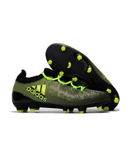 Adidas X 17.1 FG FODBOLDSTØVLE BLØDT UNDERLAG Mænd Fodboldstøvler Sort Grøn