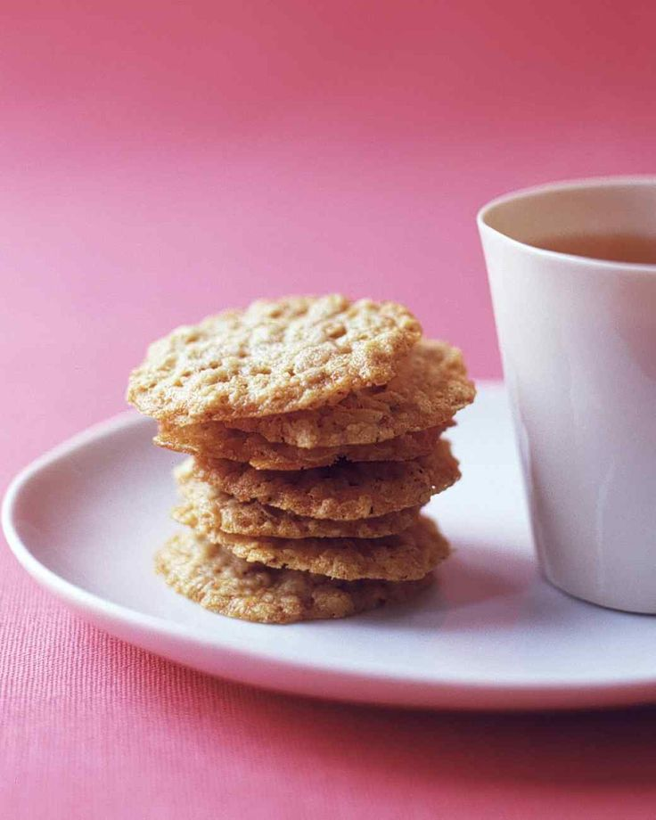 Oatmeal Crisps. Bake these delicate cookies during the weekend, and enjoy them throughout the week. These dainty oatmeal crisps bake up in about as much time as a bowl of steel-cut oats (though we'd much rather have these for dessert).