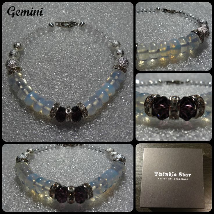 Gemini Castor and Pollux were twins in Greek mythology with the same mother but different fathers, one mortal, one immortal. When Castor dies Pollux is distraught and doesn't want to live without his brother. Zeus, father of Pollux, makes Castor immortal and the brothers live together as the constellation Gemini. I have used 2 Swarovski style crystals as a centre piece to represent the twins. The bracelet is made with moonstone gemstone which is the birthstone of those born under Gemini.