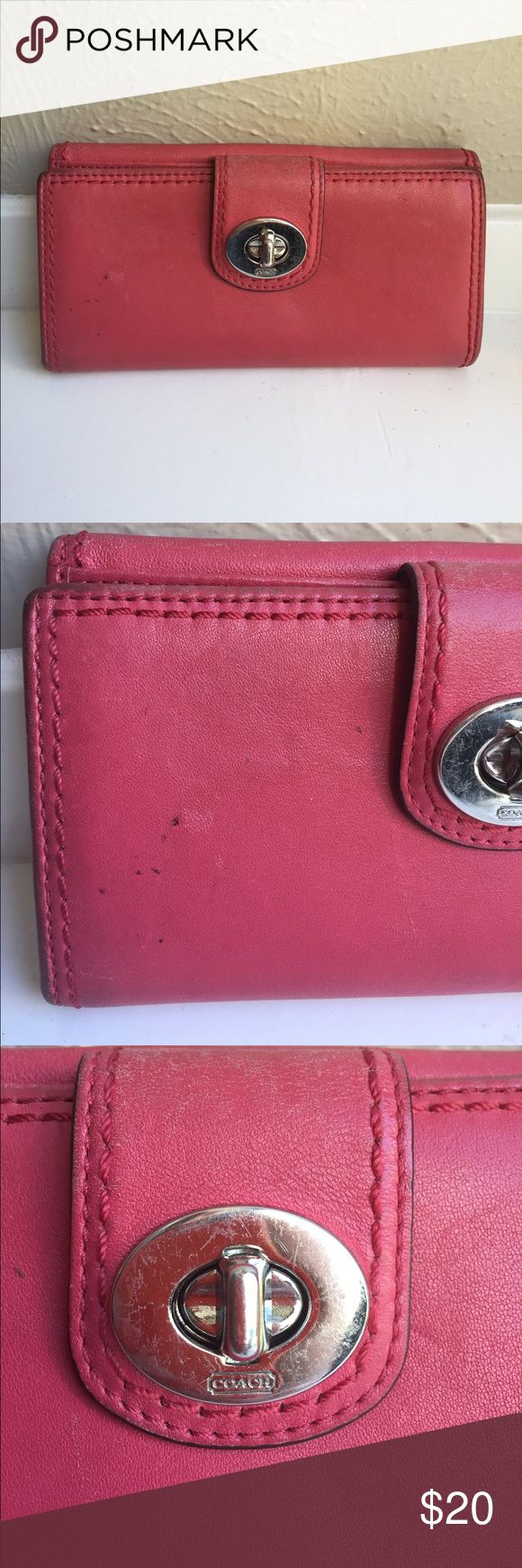 Pinkish red coach Wallet leather credit cards snap Lots of dirt, pen marks, dry areas, and scuffs. Please reference photos. Coach Bags Wallets
