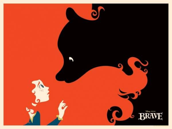 Negative space poster for Brave.