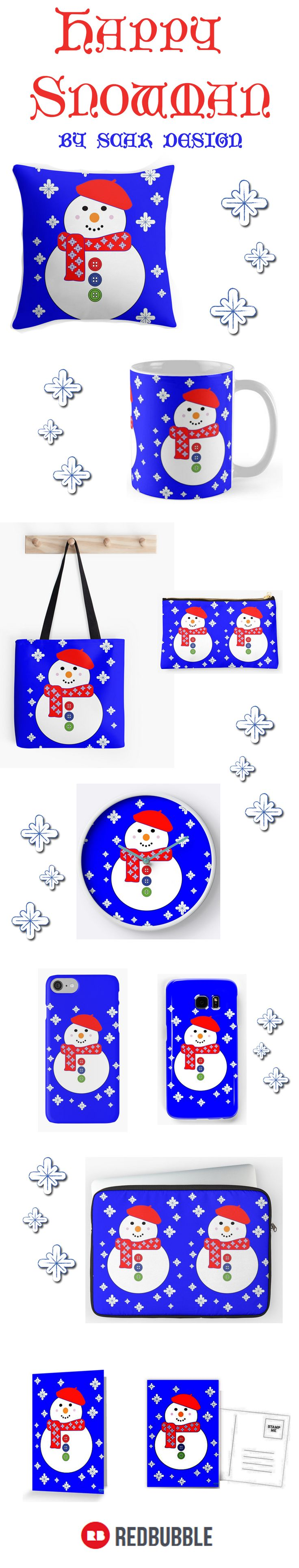 Happy Snowman Gifts by Scar Design #Christmas #christmasgifts #christmassnowman #christmasdecor #homedecor #snowman #snowmankidsroom #christmastotebag #organizepouch #snowmanpillow #kidsroom #kidsmug #snowmanmug #christmaspillow #home #homegifts #wallart #holidaygifts #snowmanclock #kidswallclock #wallclock#happy #love #jinglebells #merrychristmas #happyholidays #lovelygifts #giftsforhim #giftsforher #giftsforkids #santaclausgifts #snow #letitsnow #XmasGifts #Xmas