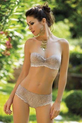 Sielei Yara levehető pántos melltartó - Menyasszonyi fehérnemű - Női fehérnemű - a Sielei terméke - Előformázott push up magában mintás sima