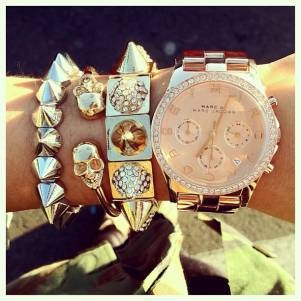 tick tock, it's #armparty o'clock: Bracelet, Skull, Arm Candy, Fashion, Style, Marc Jacobs, Jewelry, Accessories, Watches