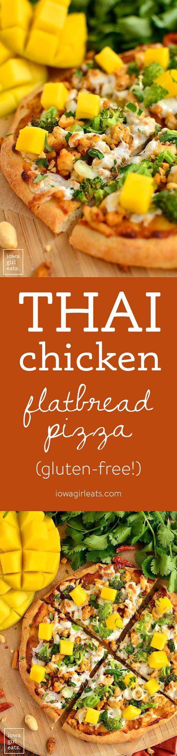 Switch up pizza night with gluten-free Thai Chicken Flatbread Pizza featuring savory peanut sauce, fresh herbs, and sweet mango.   iowagirleats.com
