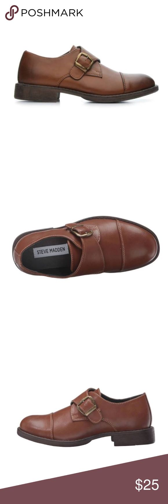 Steve Madden Boys dress shoes. Size 3. BMonkk. Size 3 Boys nSteve Madden BMonkk! This loafer features faux burnished uppers and a sleek single monk strap style for a classic look. Brown. My son wore once in wedding ceremony. Steve Madden Shoes Dress Shoes