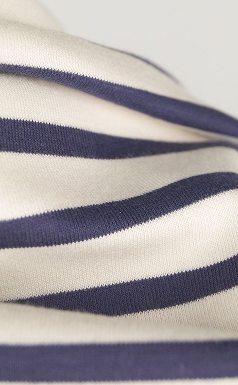 A structured but soft-handled blue and white striped doubleknit jersey fabric. Perfect for classic 'matelot' tops, simple dresses, loungewear and more.