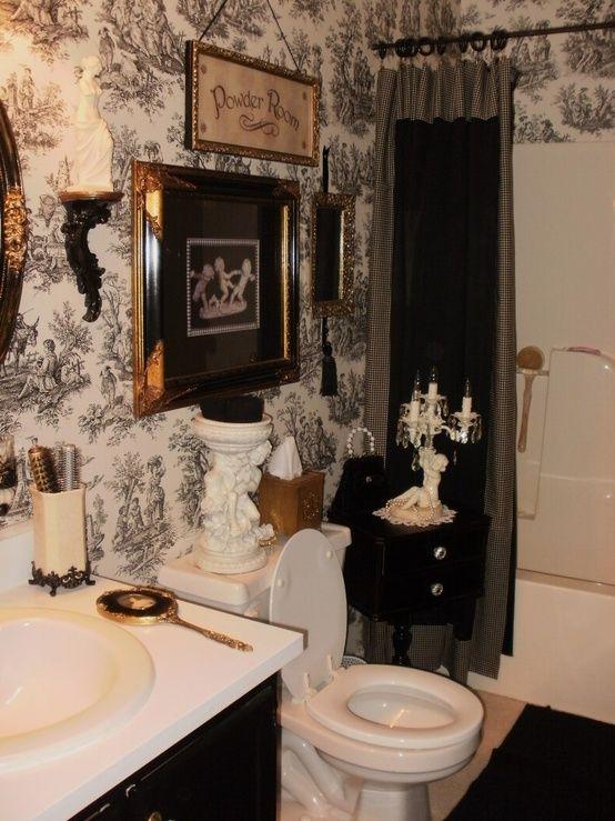21 best toile bathroom images on pinterest canvas bathroom ideas and master bathrooms - Toile bathroom decor ...