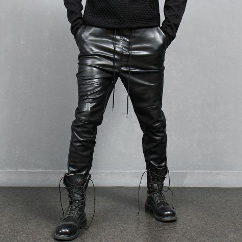 Avant garde Black Faux Leather Semi Baggy Biker Jogger Pants