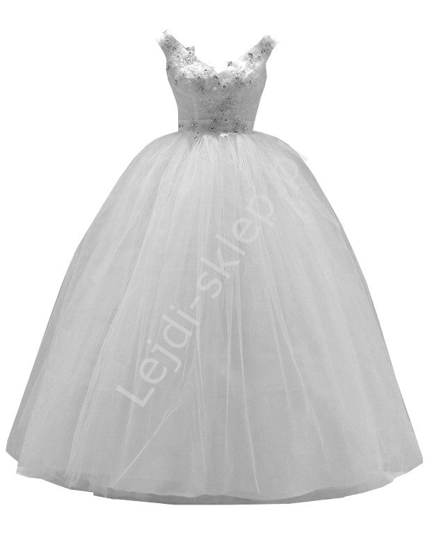 Suknia ślubna z kryształkami, gipiurą