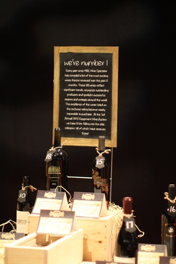 Cheeky signage demarcated different types of wine lots encouraging guests to bid on their favourites or try something new.  Categories included catchy titles including : We're Number 1, No Reds Allowed, Oh Canada, Down Under, Big Red and more...